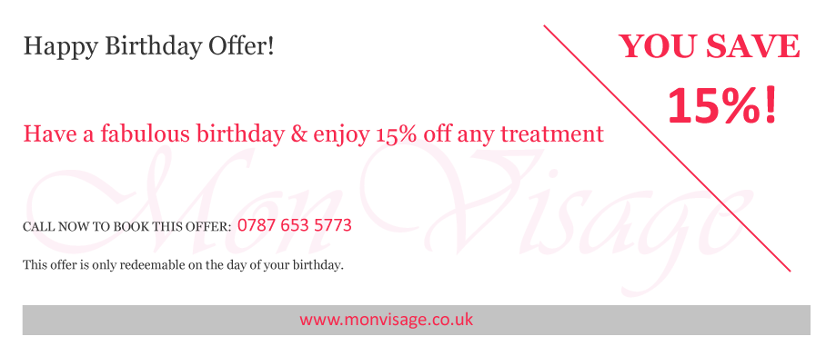 Special Offers at Mon Visage Beauty Salon Farnham for your birthday
